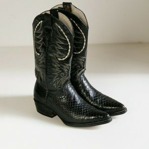 Python Snake Skin and Leather Embroidered Boots